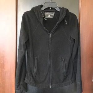 H&M black fleece jacket with hood + zipped pockets